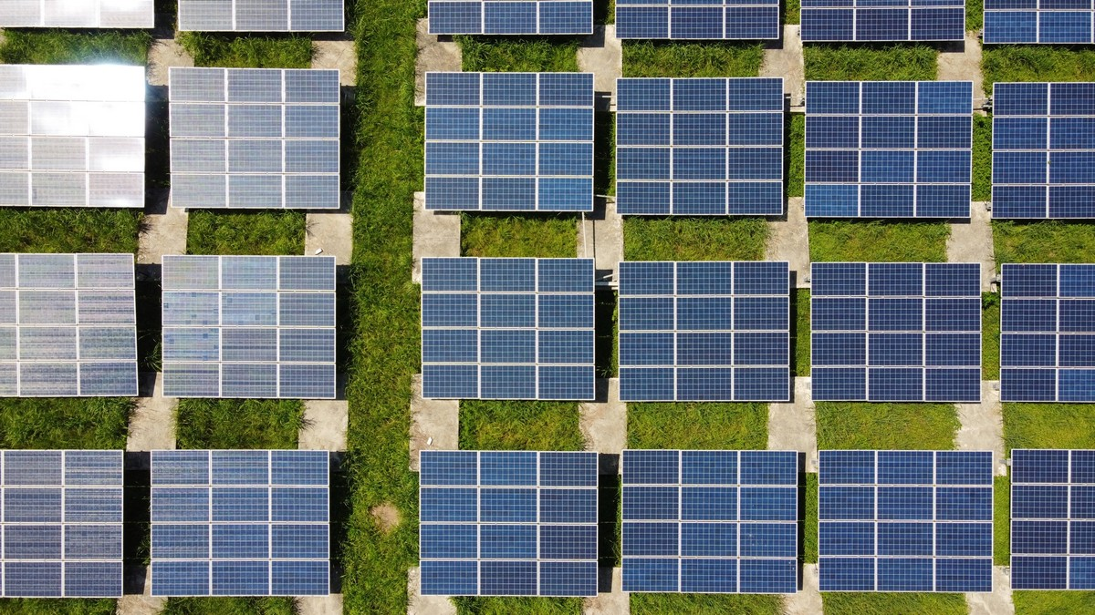 Spousta solárních panelů jako součást fotovoltaické elektrárny.